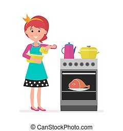 Housewife or maid with a mixer in her hands preparing food on a gas or electric stove. Pots and kettle. The meat is in the oven. Flat character isolated on white background.