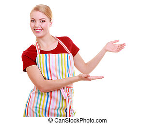 housewife or waitress making inviting welcome gesture kitchen apron isolated