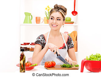 housewife - picture of beautiful woman in the kitchen
