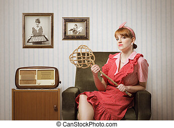 housewife portrait - Ironic portrait of a housewife retro ...