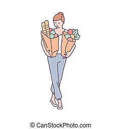 Housewife purchasing food and carrying grocery bags, sketch vector illustration.