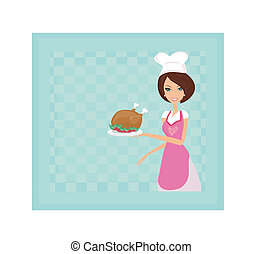 Housewife serving a chicken
