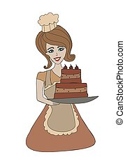 Housewife serving cake with cream