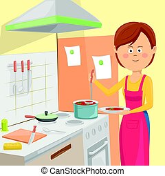 Housewife serving vegetable soup in kitchen