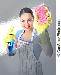 housewife - Smiling housewife cleaner woman washing a window...