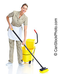 Housewife - Smiling housewife cleaner. Isolated over white...
