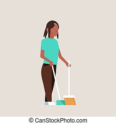 housewife sweeping floor with broom and scoop african american girl doing housework house cleaning concept female cartoon character full length flat gray background