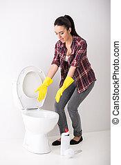 Housewife. Toilet.