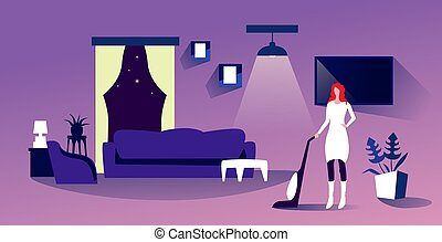 housewife using vacuum cleaner woman doing housework floor care household concept modern living room interior horizontal full length sketch