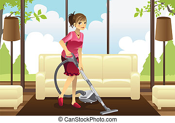 Housewife vacuuming carpet - A vector illustration of a...