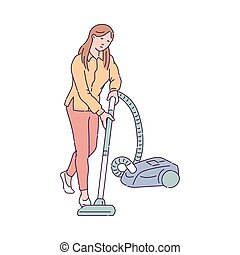 Housewife vacuuming the floor with vacuum, sketch vector illustration isolated.