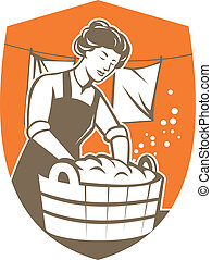 Housewife Washing Laundry Vintage Retro - Illustration of a...