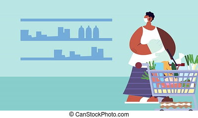housewife wearing medical mask buying groceries for covid19 ...