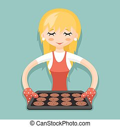 Housewife with baking and cookies cartoon character design vector illustration