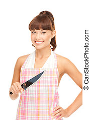 housewife with big knife - picture of beautiful housewife...
