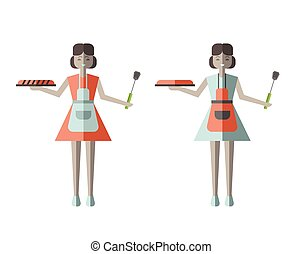 Housewife woman holding Fresh Baked Pie. Vector illustration in flat style, isolated on white.