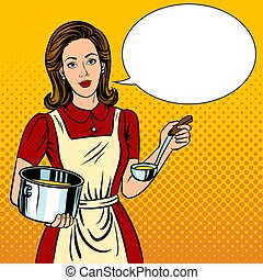 Housewife woman pop art style vector illustration