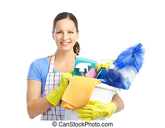 Housewife - Young smiling housewife cleaner. Over white...