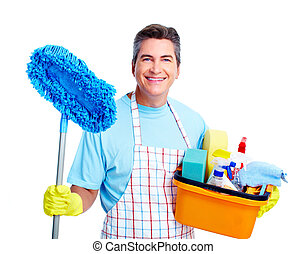 Handsome smiling man doing housework. Isolated over white.