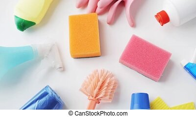 cleaning stuff on white - housework, housekeeping and...