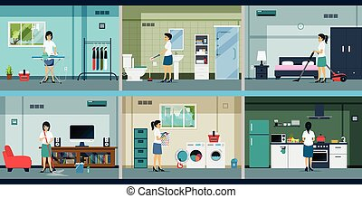 Housework - Housewives are working in many different rooms.