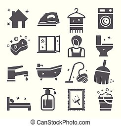 housework, limpeza, ícones