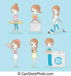 housework, mulher, caricatura
