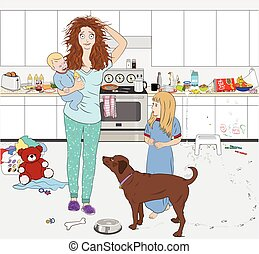 housework, trabalhando, cozinhar, cansado, parecendo, mãe, dog., crianças