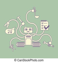 Houseworker robot with several hands