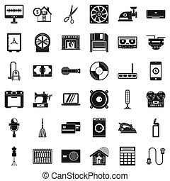 Houseworking icons set, simple style - Houseworking icons...