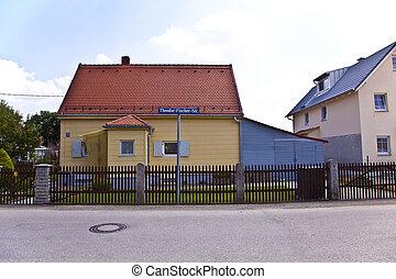 housing area in a suburban street in Munich