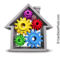 Housing Business and home economics represented by a house icon with gears and cogs inside the home as real estate symbols of the residential construction industry on a white background.