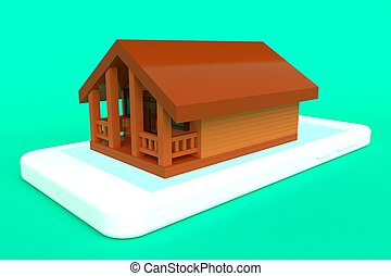 housing., concept, huur, 3d, vertolking