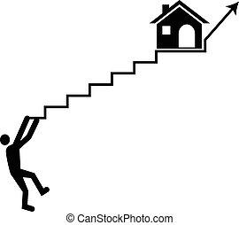housing., concept, hypothèque, élevé, taux, vecteur, intérêt, homme, montée, frappé, loyer, ou, lutter