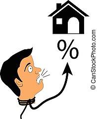housing., concept, hypothèque, choqué, élevé, taux, vecteur, intérêt, frappé, loyer, ou, homme
