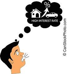 housing., concept, hypothèque, choqué, élevé, taux, vecteur, intérêt, loyer, ou, homme