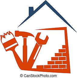 Housing construction symbol with tool - Housing construction...