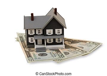 Housing Costs - A model house with twenty dollar bills...