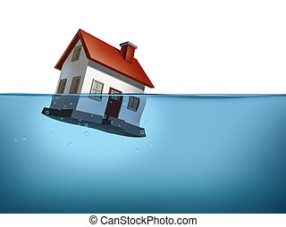 Sinking home and housing crisis with a house in the water on a white background showing the real estate housing concept of the challenges of home ownership and the business of mortgage rates payments.