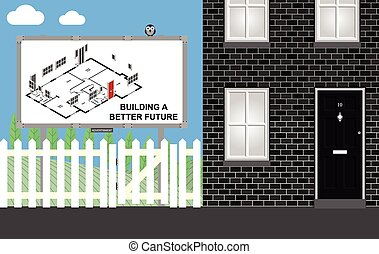 Housing development - Advertising board promoting new build...
