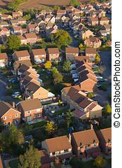 Housing development - Aerial view of British red brick...