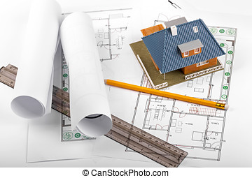 housing development, new real estate project, house on blueprints