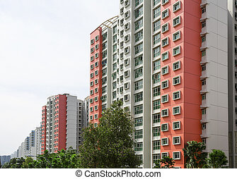 Housing Estate - A row of red color housing apartment.