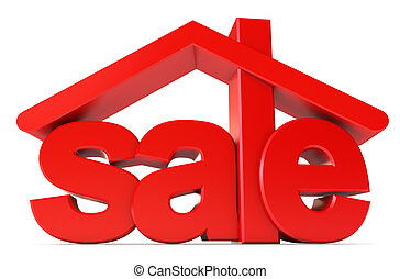 Housing for sale. Icon isolated on white background. 3d...