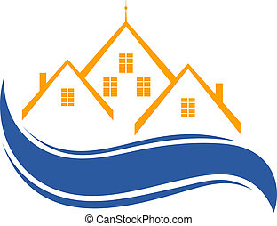 housing., gruppo, case, isolato, fondo., vect, logotipo, bianco