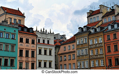 Housing in Poland. - facade of houses in the old town of...