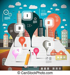 Housing Infographics. Vector Infographic Layout with Abstract Shapes and City - Town.