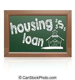 Housing loan words on a chalkboard