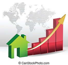 Housing market business charts with green house