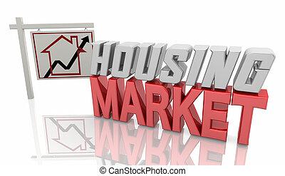 Housing Market Home House For Sale Sign Real Estate 3d Illustration